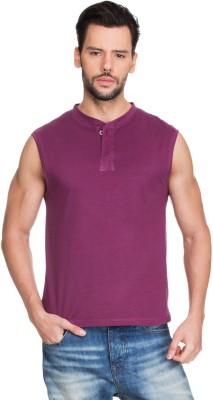 Zovi Solid Men's Round Neck Purple T-Shirt