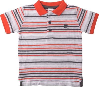Lulu Striped Baby Boy's Polo Neck Orange, Grey T-Shirt