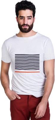 Mr Button Solid Men's Round Neck White T-Shirt