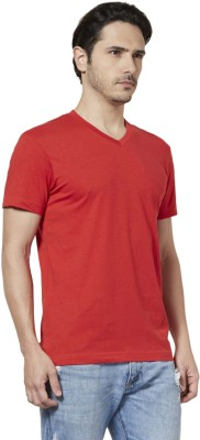 Tuna London Solid Men's V-neck Red T-Shirt