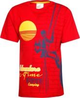 Joshua Tree Boys Printed Cotton T Shirt(Red)
