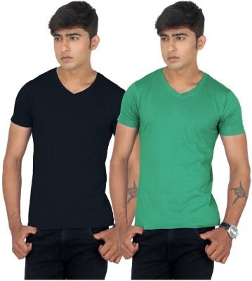 TeesTadka Solid Men's V-neck Multicolor T-Shirt