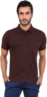 Awack Solid Men's Polo Neck Brown T-Shirt