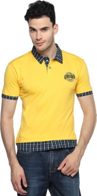 Swing9 Embroidered Men's Polo Neck Yellow T-Shirt