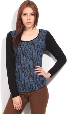 Arrow Printed Women's Round Neck Black, Blue T-Shirt