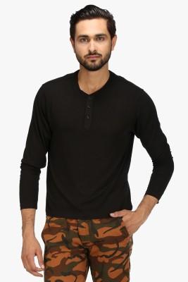 Global Nomad Solid Men's Henley Black T-Shirt