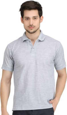 KTG Solid Men's Polo Neck Grey T-Shirt