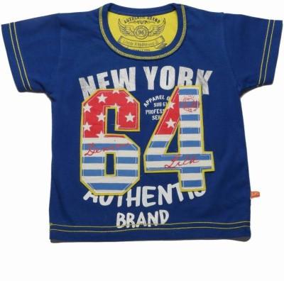 Little Kangaroos Printed Boy's Round Neck Dark Blue T-Shirt