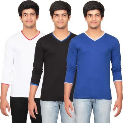 Graceful Self Design Men's V-neck Black, White, Blue T-Shirt
