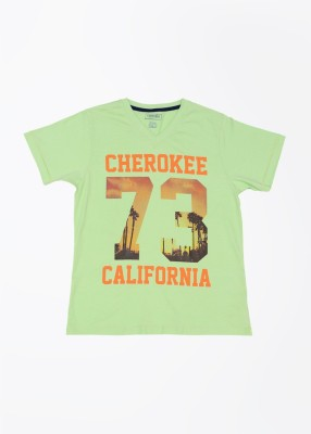 Cherokee Kids Printed Boy's V-neck Green T-Shirt