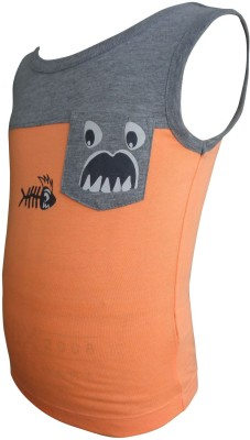 Junior Boxer Solid Boy's Round Neck Orange T-Shirt