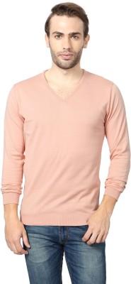 Peter England Solid Men's V-neck Orange T-Shirt