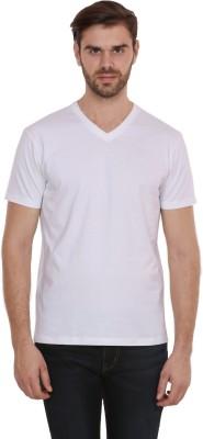 CNMN Solid Men's V-neck White T-Shirt