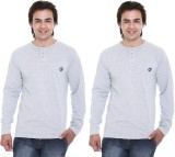 Cee-For Solid Men's Henley Grey T-Shirt