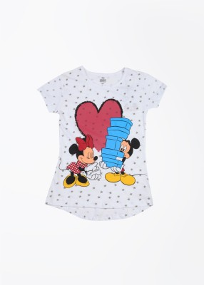 Mickey & Friends Printed Girl's Round Neck White, Pink T-shirt