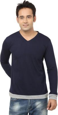 Jangoboy Solid Men,s V-neck Blue T-Shirt