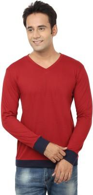 Jangoboy Solid Men,s V-neck Red T-Shirt