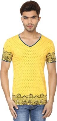 Lowcha Polka Print Men's V-neck Yellow, Black T-Shirt