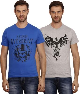Crush on Craze Printed Men's Round Neck Blue, Grey T-Shirt