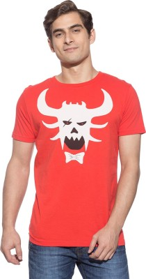 Chimp Graphic Print Men's Round Neck Red T-Shirt