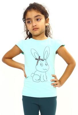 Bio Kid Printed Girl's Round Neck Green T-Shirt