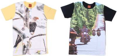 LE PEBBLE Printed Men's Round Neck Yellow, Black T-Shirt