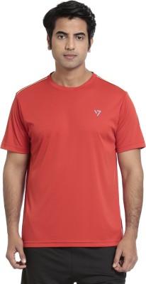 SEVEN Solid Men's Round Neck Red T-Shirt