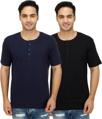 Rakshita Collection Solid Men's Henley Multicolor T-Shirt