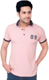 Goplay Solid Men's Polo Neck Pink T-Shir...