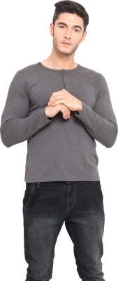 Northern Lights Solid Men's Henley Grey T-Shirt