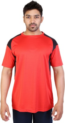 Obvio Solid Men's Round Neck Red T-Shirt