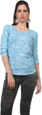 Viral Lifestyle Printed Women's Round Neck Blue T-Shirt