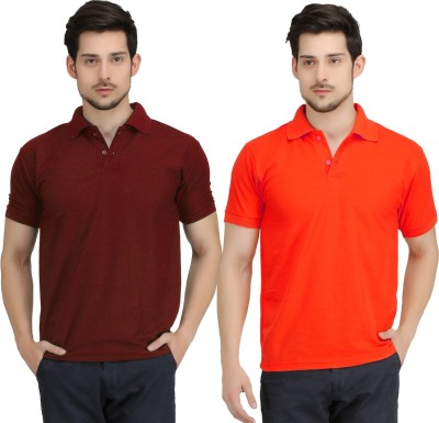 Krazy Katz Solid Men's Polo Neck Maroon, Red T-Shirt