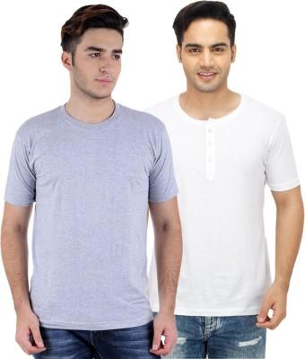 Sanvi Traders Solid Men's Round Neck Multicolor T-Shirt