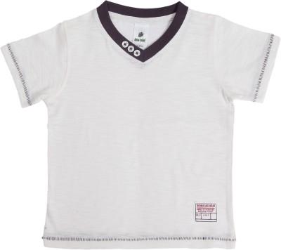 Bio Kid Solid Boy's V-neck White T-Shirt