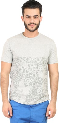 Habitude Geometric Print Men's Round Neck Grey T-Shirt