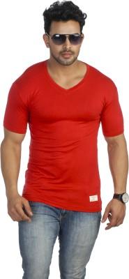 Male Basics Solid Men's V-neck Red T-Shirt
