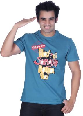 Ektarfaa Printed Men's Round Neck Blue T-Shirt