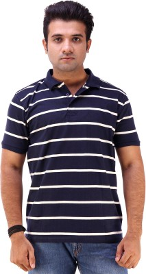 Goyal Arts Striped Men's Flap Collar Neck Blue T-Shirt