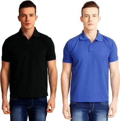 Faded Finch Solid Men's Polo Neck Black, Blue T-Shirt