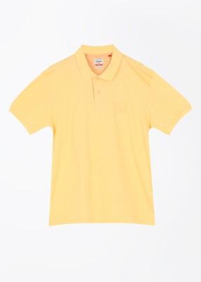 Arrow Sport Solid Men's Polo Yellow T-Shirt