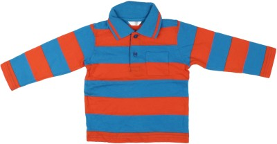Parv Collections Striped Baby Boy,s Polo Neck Blue T-Shirt