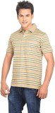 Planet 69 Striped Men's Polo Neck Gold T...