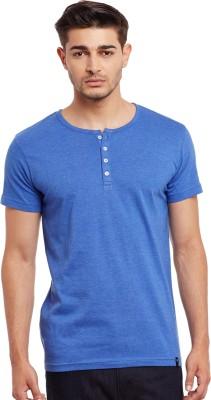 The Vanca Solid Men's Round Neck Blue T-Shirt