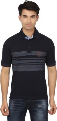 Keewi Solid Men's Polo Neck Dark Blue, Grey T-Shirt
