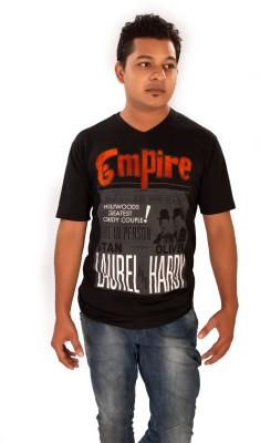 Maggivox Printed Men's V-neck Black T-Shirt
