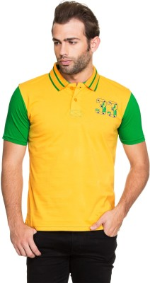 Zovi Solid Men's Polo Neck Yellow T-Shirt