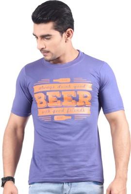 NG Tees Graphic Print Men's Round Neck Dark Blue T-Shirt