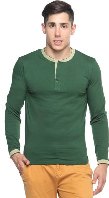 Pepperclub Solid Men's Henley Green T-Shirt