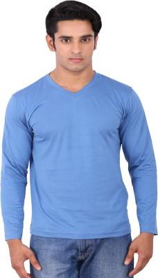 Rat Trap Solid Men's V-neck Blue T-Shirt